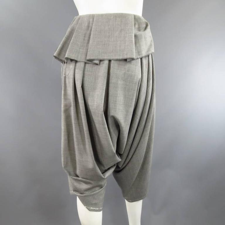 COMME des GARCONS Size S Grey Wool Deconstructed Draped Drop Crotch Pants 8