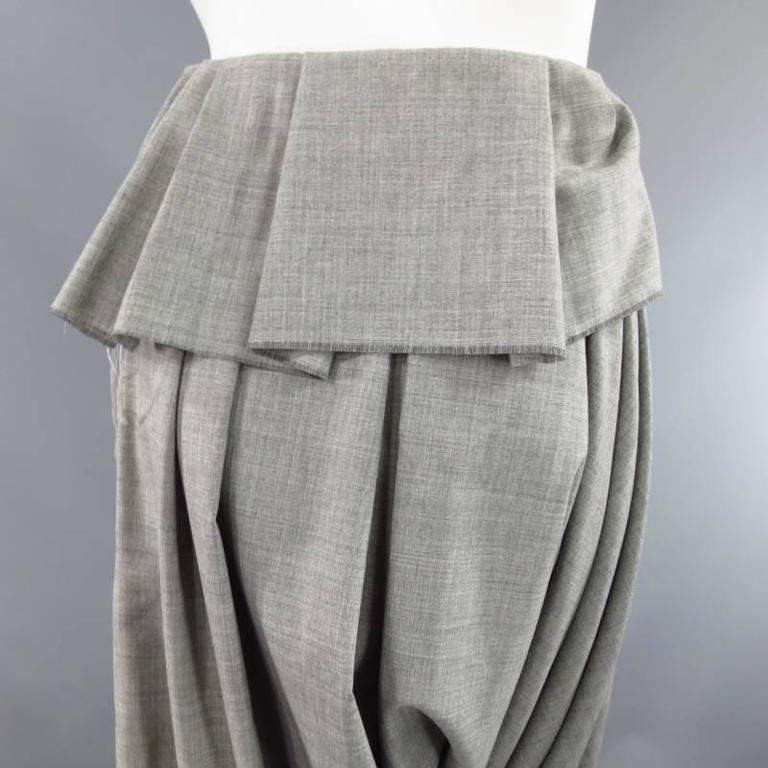 COMME des GARCONS Size S Grey Wool Deconstructed Draped Drop Crotch Pants 10