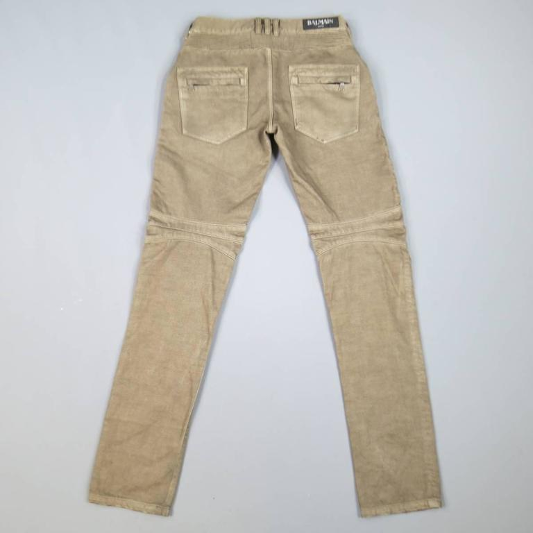 BALMAIN Size 32 Taupe Denim Ribbed Moto Jeans In Excellent Condition For Sale In San Francisco, CA