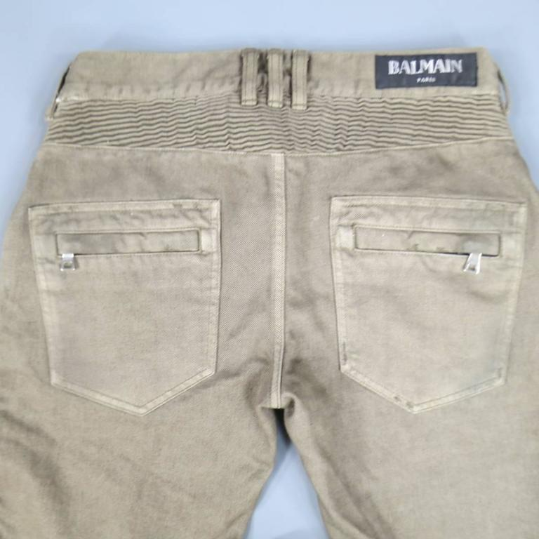 BALMAIN Size 32 Taupe Denim Ribbed Moto Jeans For Sale 1