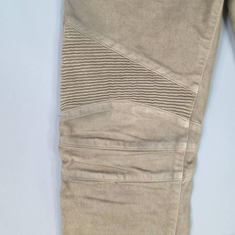 Brown BALMAIN Size 32 Taupe Denim Ribbed Moto Jeans For Sale