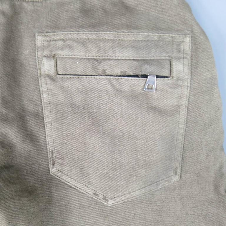 BALMAIN Size 32 Taupe Denim Ribbed Moto Jeans For Sale 2