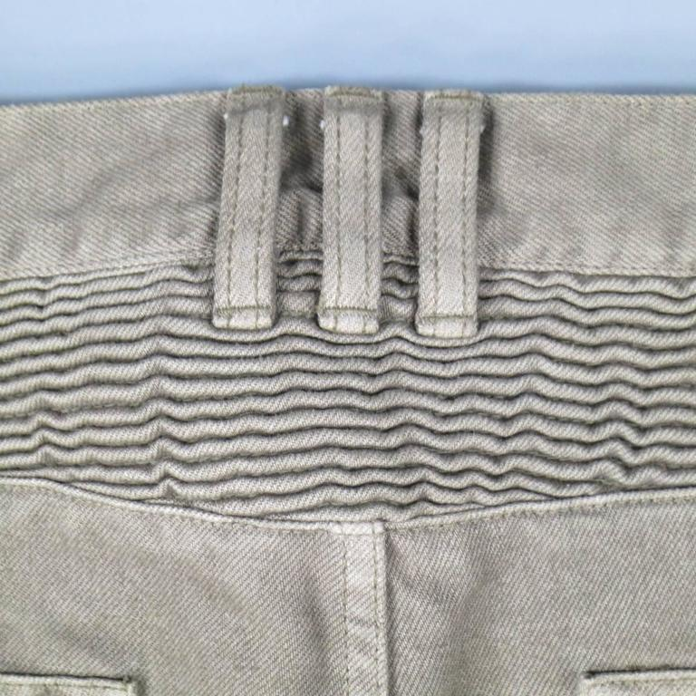 BALMAIN Size 32 Taupe Denim Ribbed Moto Jeans For Sale 3