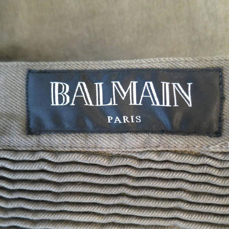 BALMAIN Size 32 Taupe Denim Ribbed Moto Jeans For Sale 4