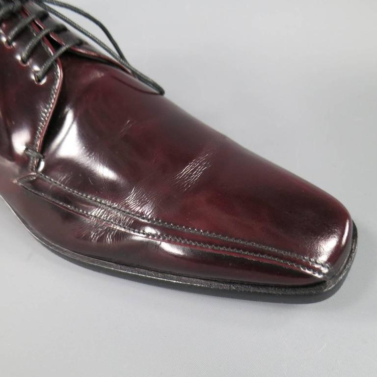 PRADA Size 8 Burgundy Patent Leather Pointed Square Toe Lace Up In Excellent Condition For Sale In San Francisco, CA