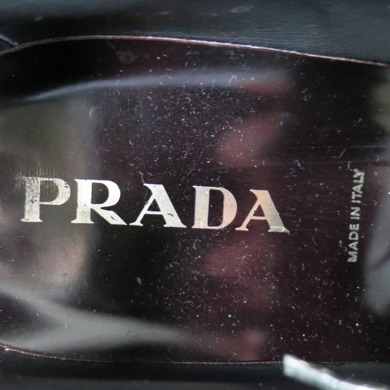 PRADA Size 8 Burgundy Patent Leather Pointed Square Toe Lace Up For Sale 1