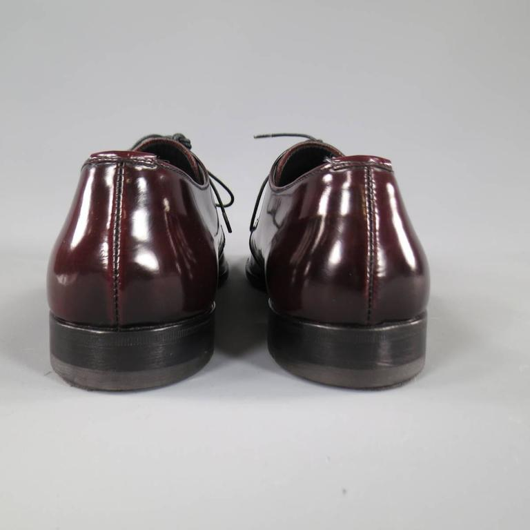 PRADA Size 8 Burgundy Patent Leather Pointed Square Toe Lace Up For Sale 2
