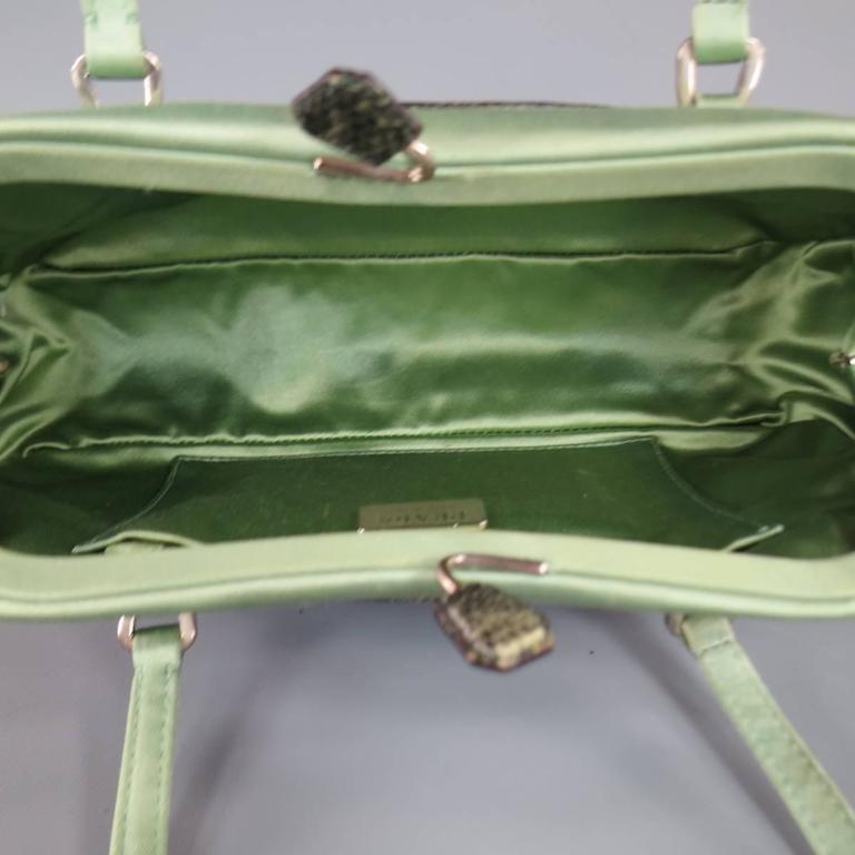 PRADA Mint Green Satin & Lizard Leather Mini Purse Handbag 5