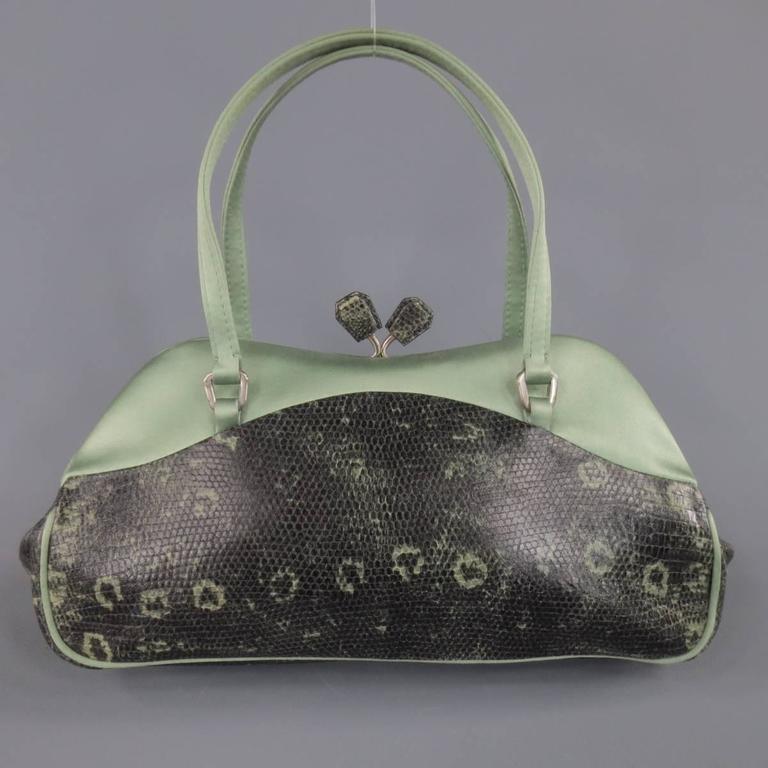PRADA Mint Green Satin & Lizard Leather Mini Purse Handbag 6