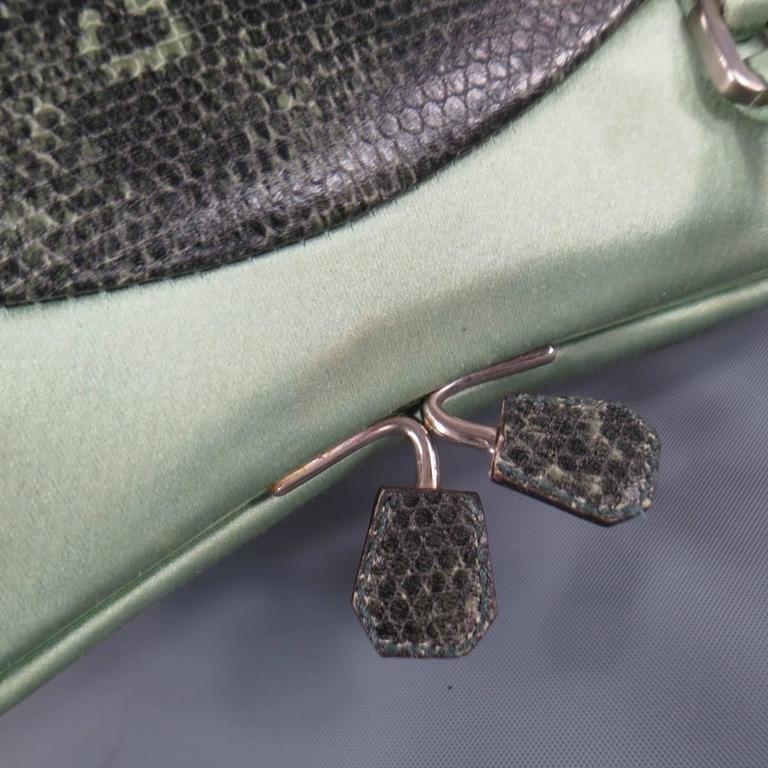 PRADA Mint Green Satin & Lizard Leather Mini Purse Handbag 8