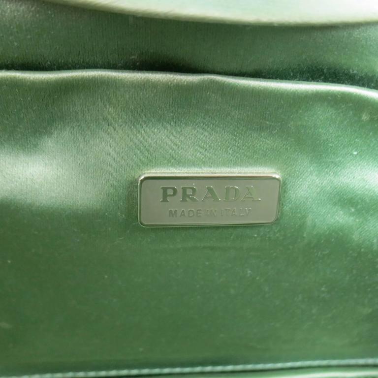 PRADA Mint Green Satin & Lizard Leather Mini Purse Handbag 9