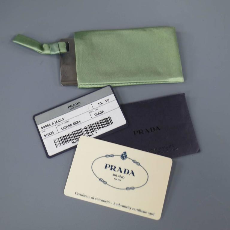 PRADA Mint Green Satin & Lizard Leather Mini Purse Handbag 10