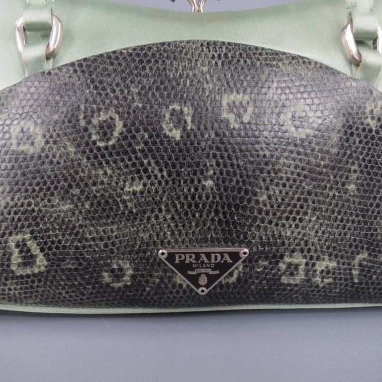 PRADA Mint Green Satin & Lizard Leather Mini Purse Handbag 3