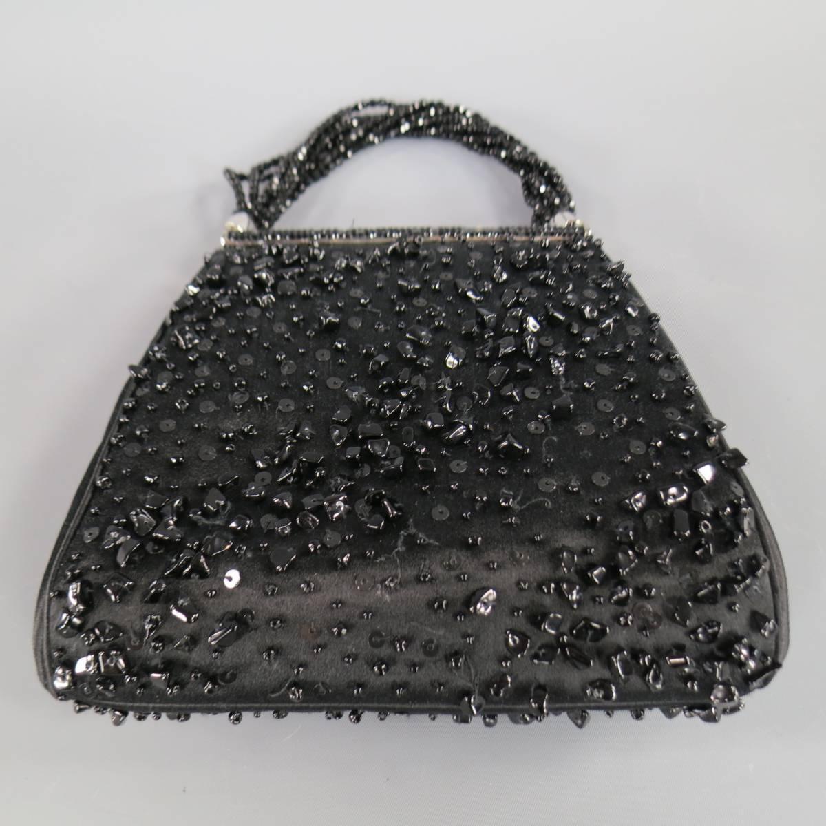 Vintage Judith Leiber Black Beaded Satin Evening Handbag