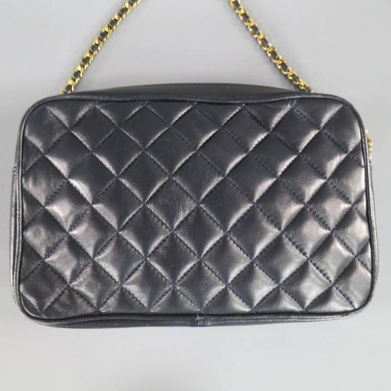 Vintage GIVENCHY Navy Quilted Leather Gold Chain Strap Cross Body Handbag 1