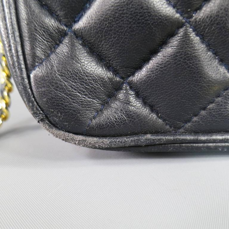 Men's Vintage GIVENCHY Navy Quilted Leather Gold Chain Strap Cross Body Handbag
