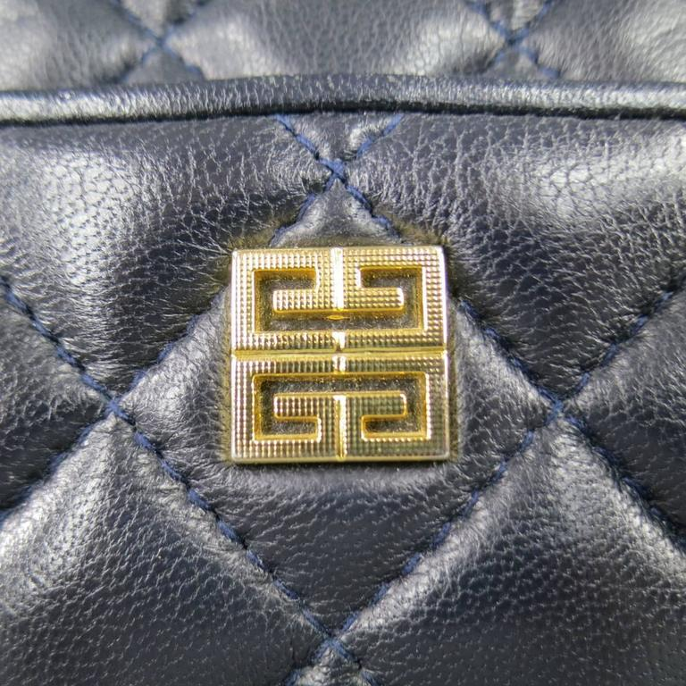 Black Vintage GIVENCHY Navy Quilted Leather Gold Chain Strap Cross Body Handbag