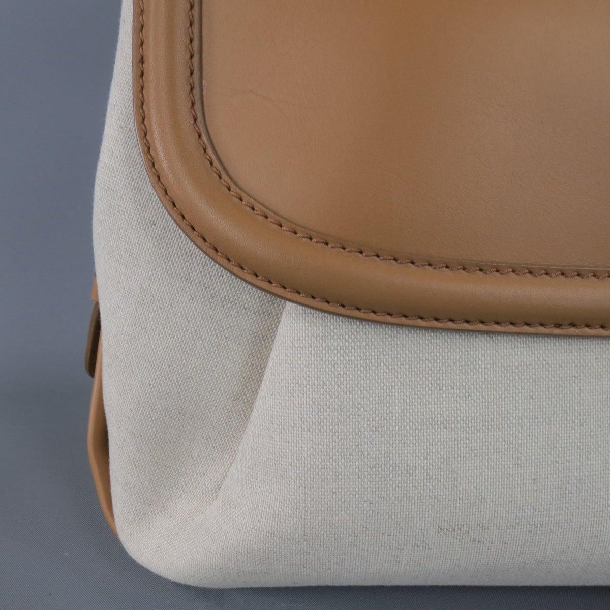 bcedfc3459e8 SALVATORE FERRAGAMO Beige Canvas Brown Leather FIAMMA North South Handbag at  1stdibs