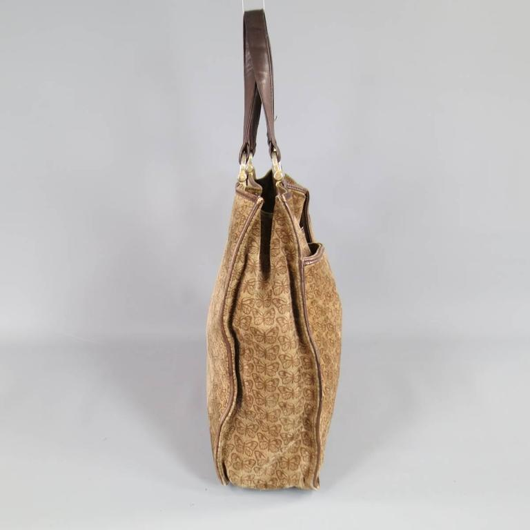 Vintage BOTTEGA VENETA Brown Butterfly Print Suede Tote Bag In Good  Condition For Sale In San 9aadf7d30d5e0