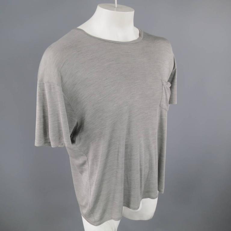 Saint Laurent Size L Gray Drop Shoulder Silk Jersey T