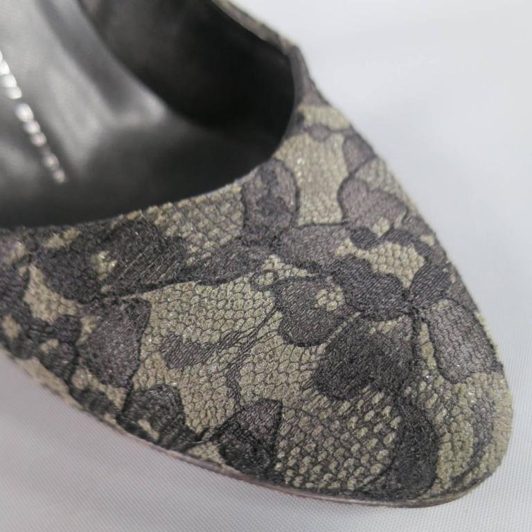 Giuseppe Zanotti Grey Black Lace Pumps, Size 7.5  For Sale 1