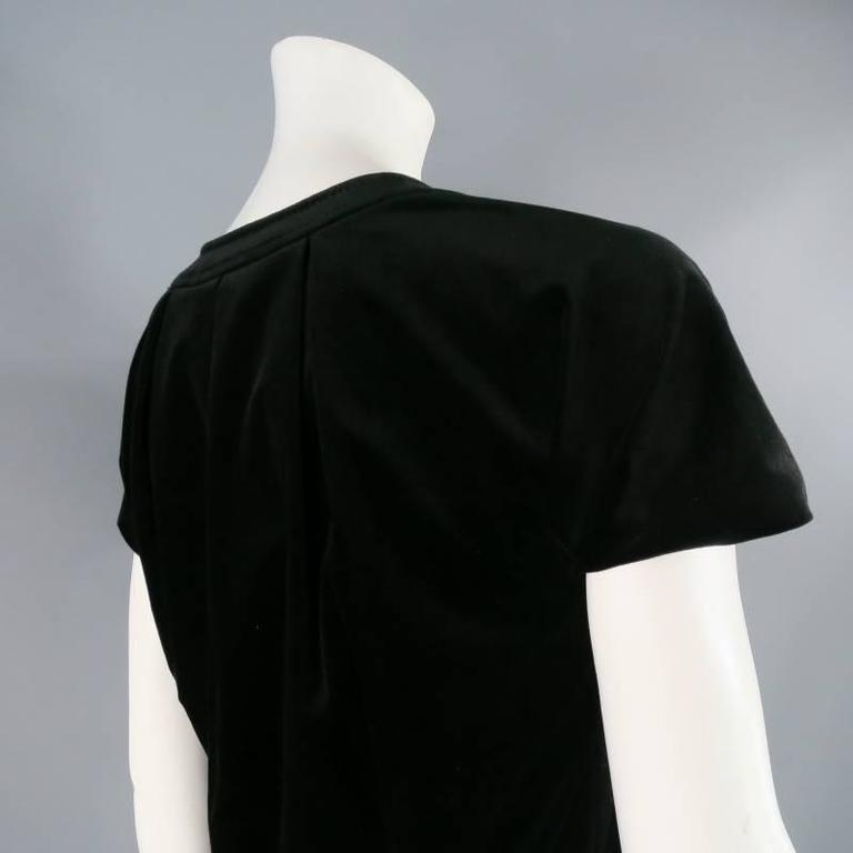 GUCCI Size 2 Black Cotton Blend Short Sleeve A-Line Dress For Sale 2