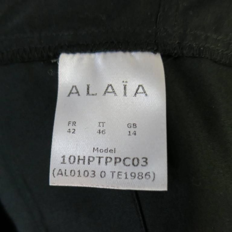 ALAIA Dress Size 10 Black Cotton Gathered Back Skirt Collared Shirt For Sale 5