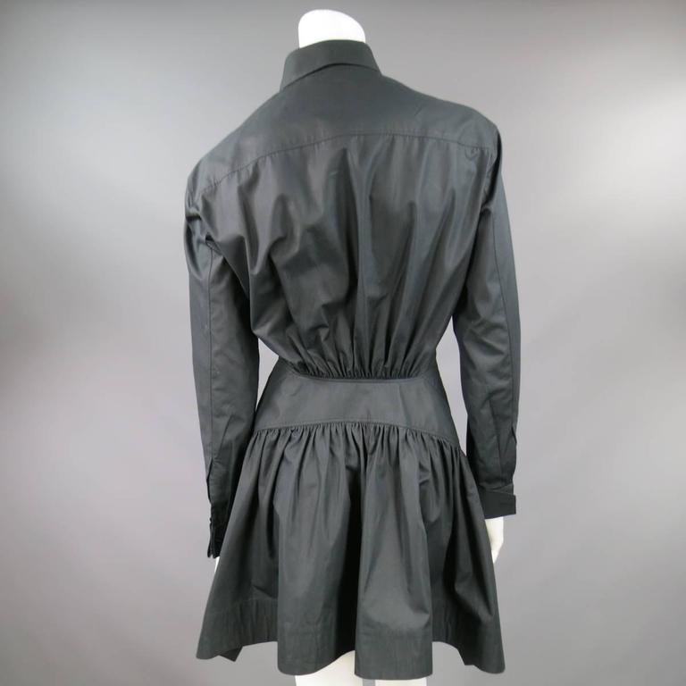 ALAIA Dress Size 10 Black Cotton Gathered Back Skirt Collared Shirt In Good Condition For Sale In San Francisco, CA