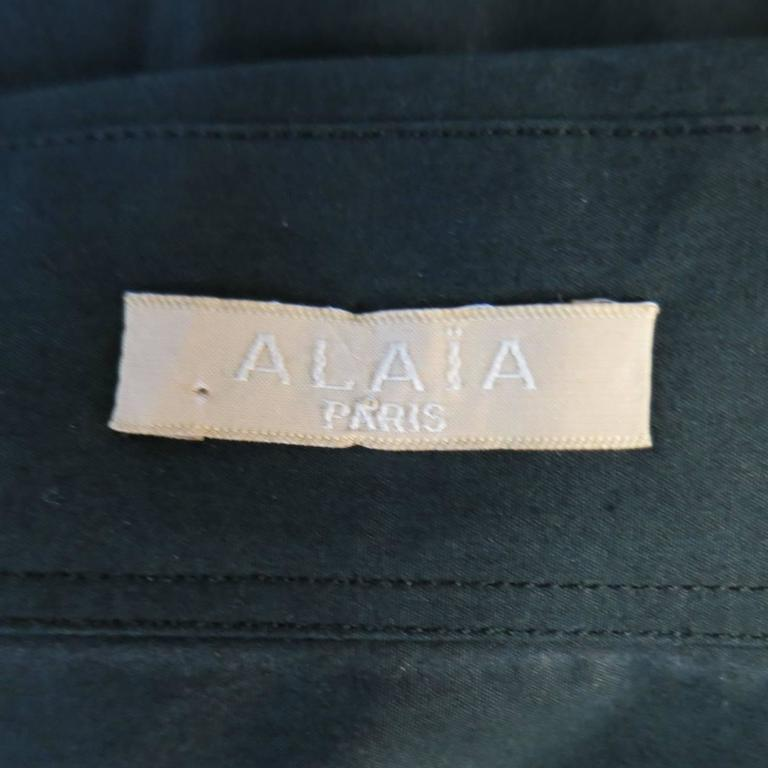 ALAIA Dress Size 10 Black Cotton Gathered Back Skirt Collared Shirt For Sale 4