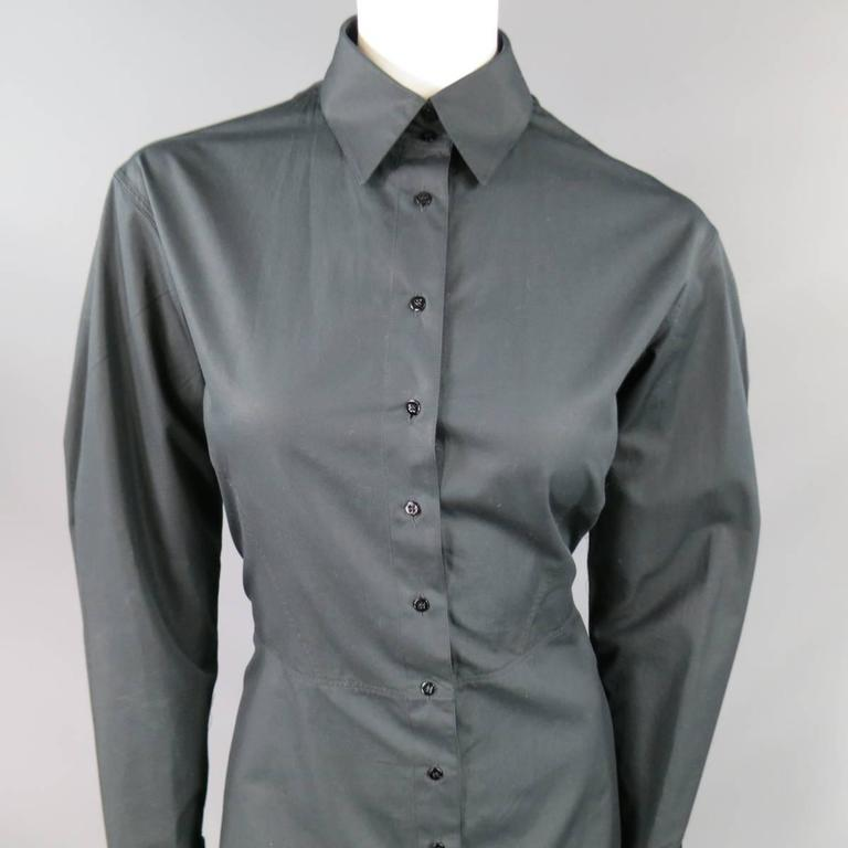ALAIA Dress Size 10 Black Cotton Gathered Back Skirt Collared Shirt For Sale 1
