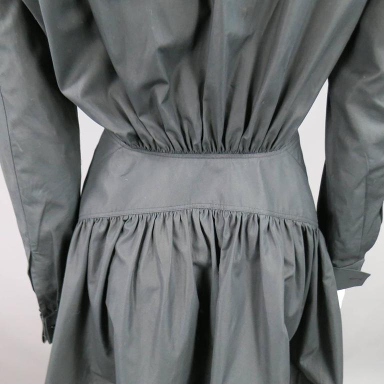 ALAIA Dress Size 10 Black Cotton Gathered Back Skirt Collared Shirt For Sale 2