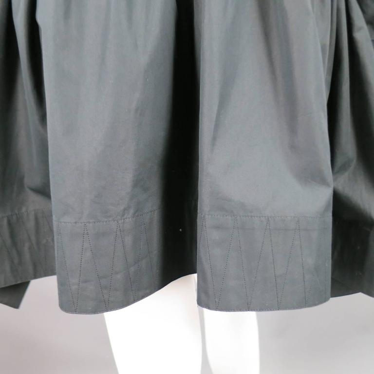 ALAIA Dress Size 10 Black Cotton Gathered Back Skirt Collared Shirt For Sale 3