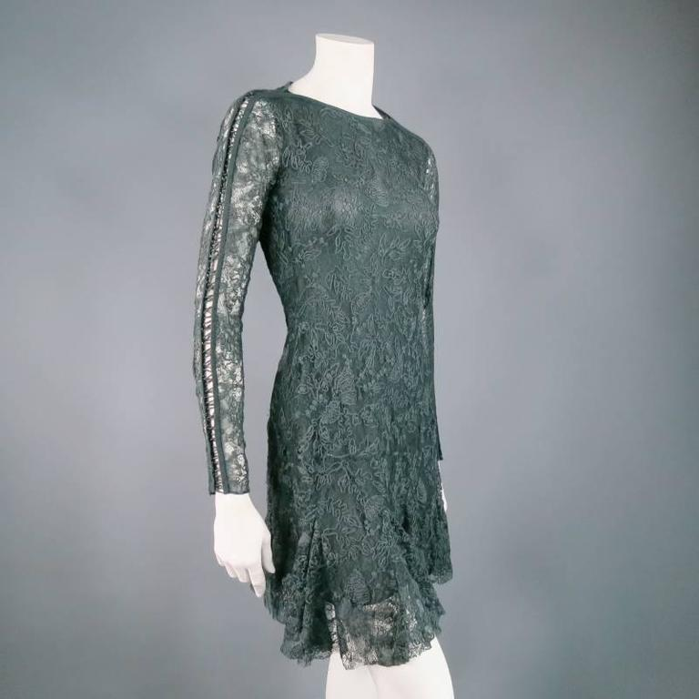 ISABEL MARANT Size 6 Teal Lace Tied long Sleeve Ruffle Skirt Shift Dress 4