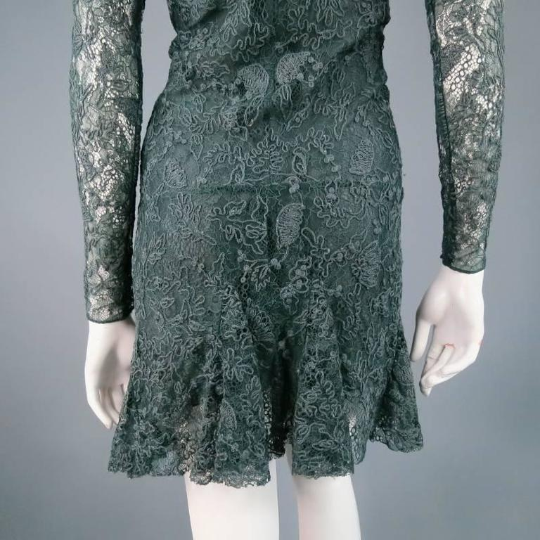 ISABEL MARANT Size 6 Teal Lace Tied long Sleeve Ruffle Skirt Shift Dress 6