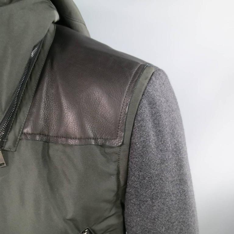 Gray LANVIN Men's 42 Charcoal & Olive Wool Sleeved Detachable Hood Zip Coat For Sale