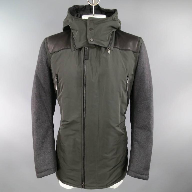 LANVIN Men's 42 Charcoal & Olive Wool Sleeved Detachable Hood Zip Coat In Excellent Condition For Sale In San Francisco, CA