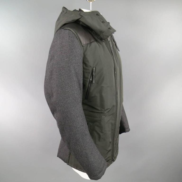 LANVIN Men's 42 Charcoal & Olive Wool Sleeved Detachable Hood Zip Coat For Sale 2