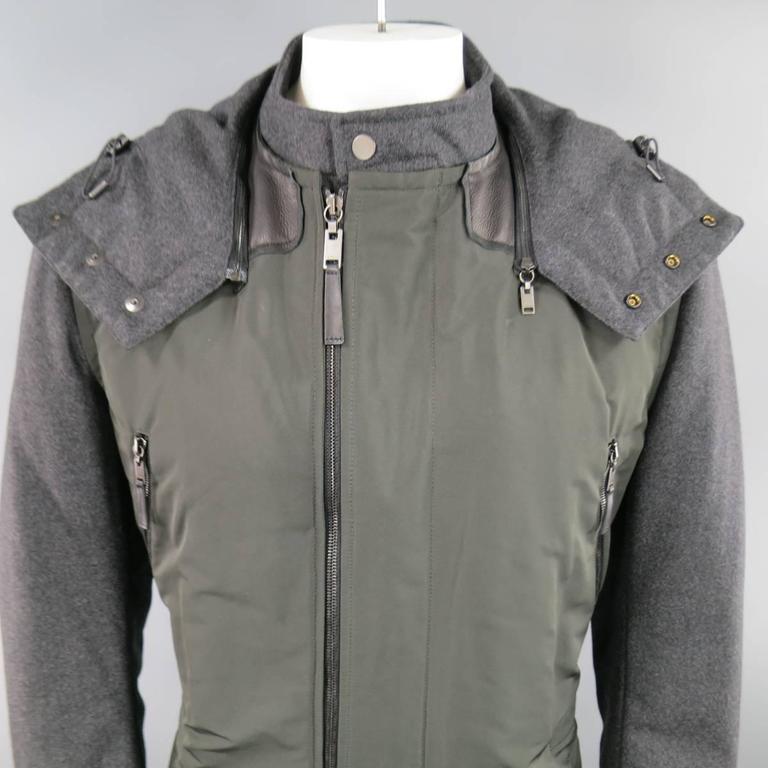 LANVIN Men's 42 Charcoal & Olive Wool Sleeved Detachable Hood Zip Coat 5