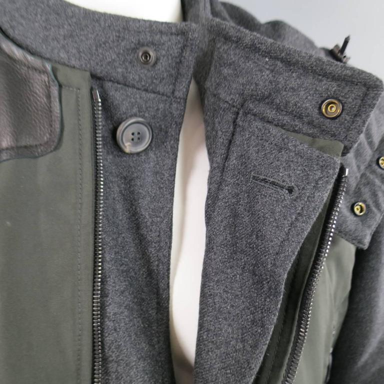 LANVIN Men's 42 Charcoal & Olive Wool Sleeved Detachable Hood Zip Coat For Sale 3