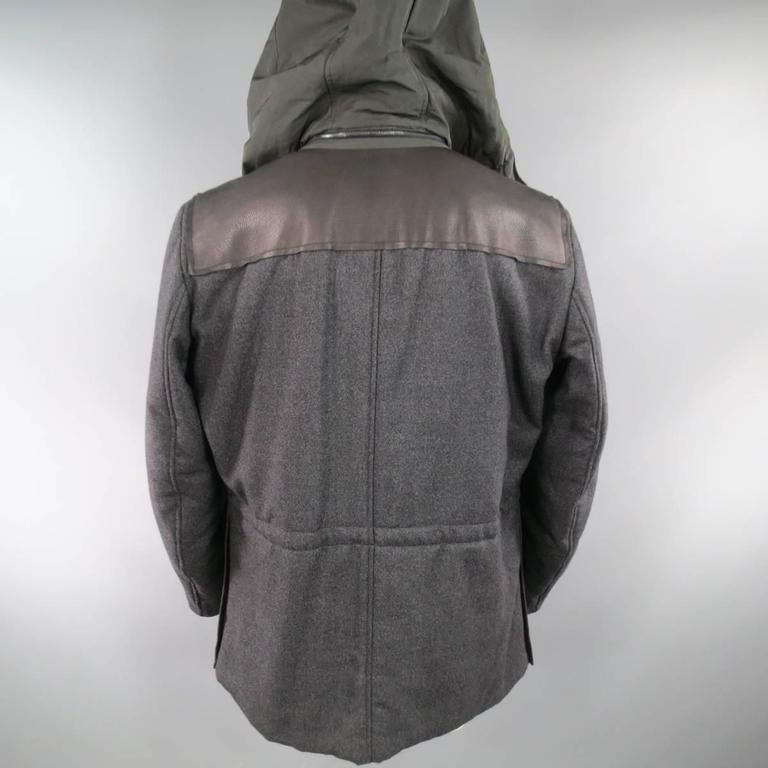 LANVIN Men's 42 Charcoal & Olive Wool Sleeved Detachable Hood Zip Coat 8