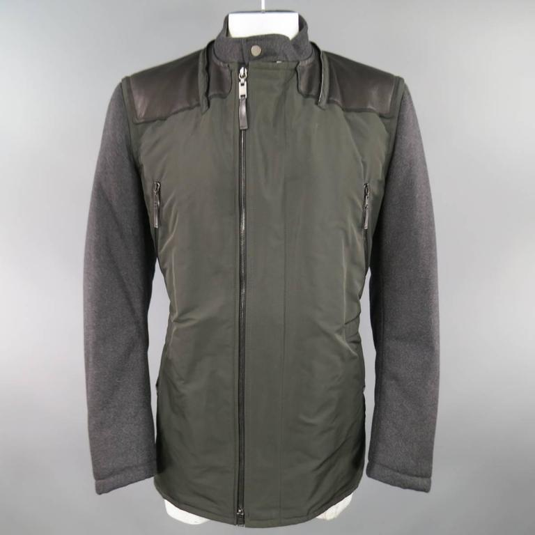 LANVIN Men's 42 Charcoal & Olive Wool Sleeved Detachable Hood Zip Coat For Sale 5