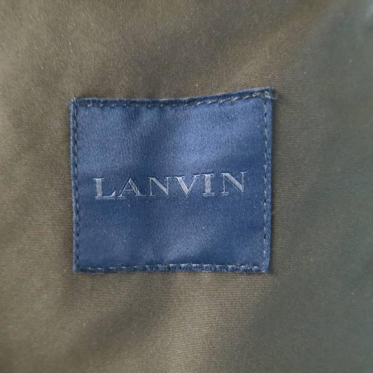 LANVIN Men's 42 Charcoal & Olive Wool Sleeved Detachable Hood Zip Coat 10