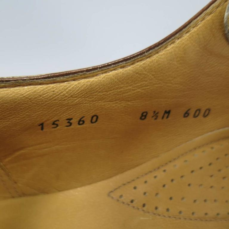 GRAVATI Size 8.5 Tan & White Leather Two Tone Lace Up Golf Shoes In New Condition For Sale In San Francisco, CA