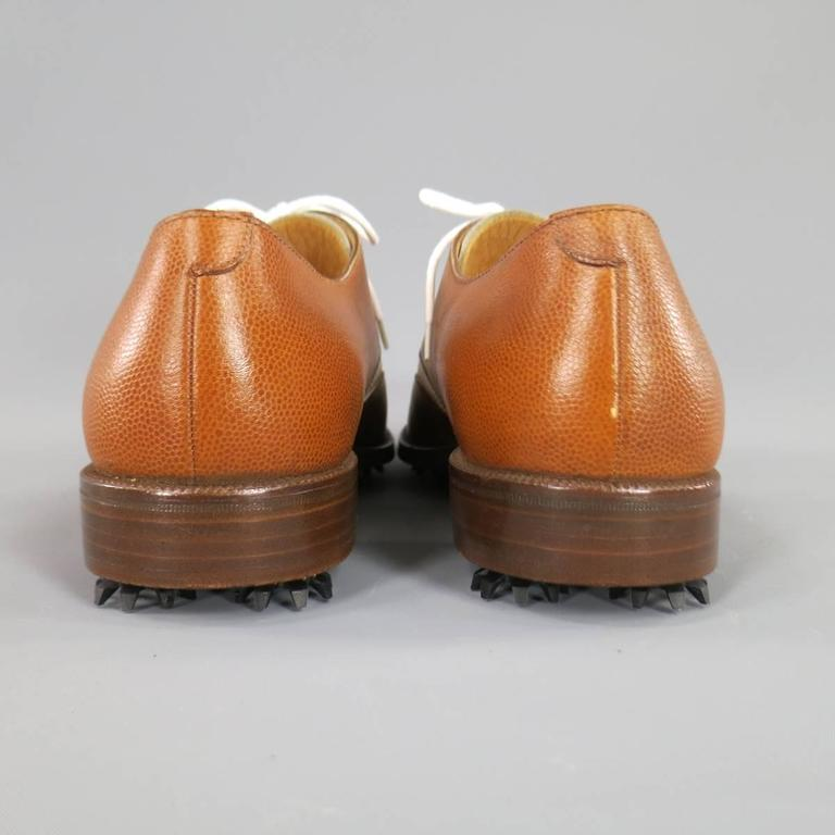 GRAVATI Size 8.5 Tan & White Leather Two Tone Lace Up Golf Shoes For Sale 1