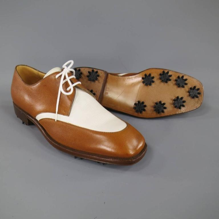 Beige GRAVATI Size 8.5 Tan & White Leather Two Tone Lace Up Golf Shoes For Sale