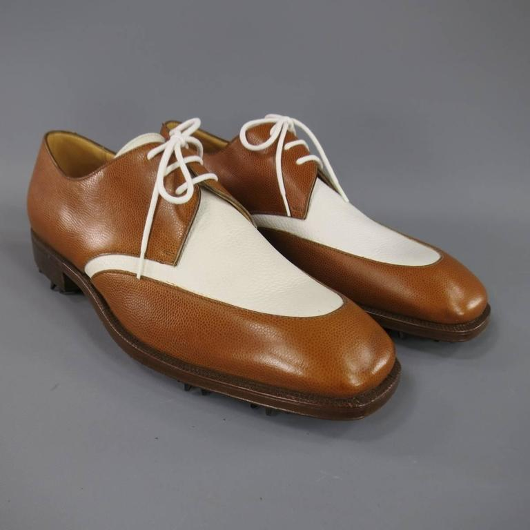GRAVATI Size 8.5 Tan & White Leather Two Tone Lace Up Golf Shoes For Sale 3