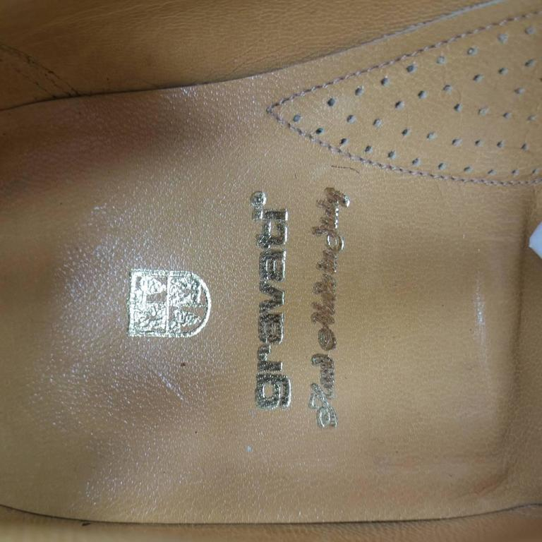 GRAVATI Size 8.5 Tan & White Leather Two Tone Lace Up Golf Shoes For Sale 5