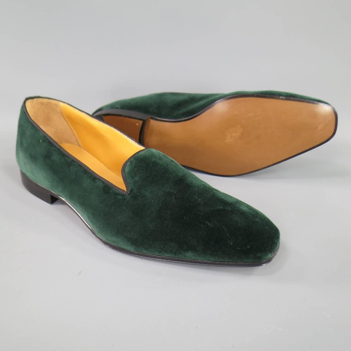 Gaziano And Girling Size 9 Forest Green Velvet Slipper