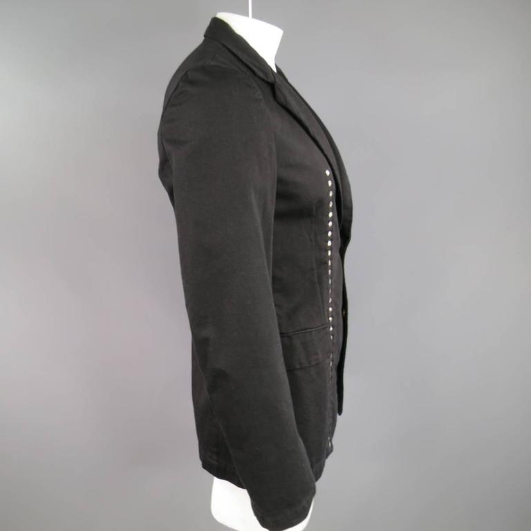 COMME des GARCONS 40 Men's Black Cotton Reversible Studded Sport Coat Jacket In Excellent Condition For Sale In San Francisco, CA