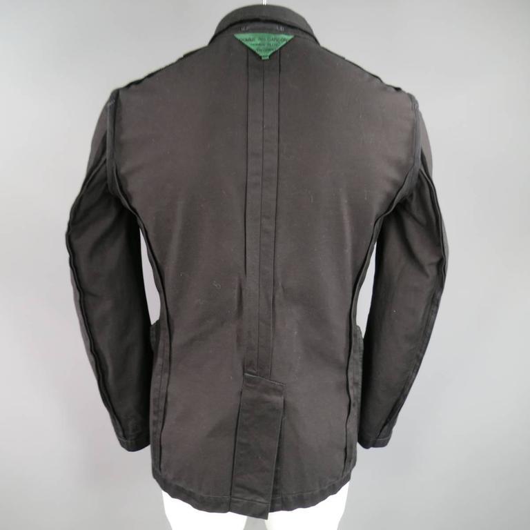 Comme Des Garcons Black Cotton Reversible Studded Sport Coat Jacket For Sale 3